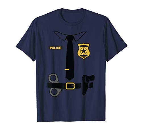 Kostüm Police Womens Shirt - Police Officer Costume Shirt Halloween Policeman Boys Men T-Shirt