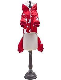 Espesor Cuatro patas Chaqueta de algodón Para mascotas Perros Abrigo de invierno con patrón de estrella Perro pequeño Bebé Ropa Abrigo para perros - rojo M