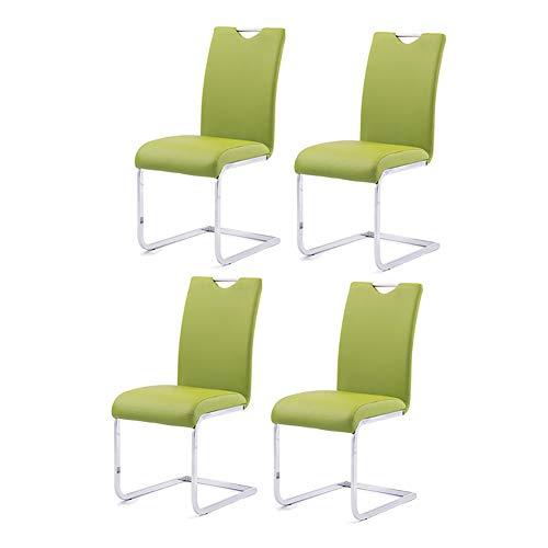 Stühle CJC Esszimmerstühle Elegant Zuhause Möbel Essen einstellen von 4 Faux Leder Chrom Stehlen Beine Modern (Farbe : Grün) (Faux-leder-stühle)