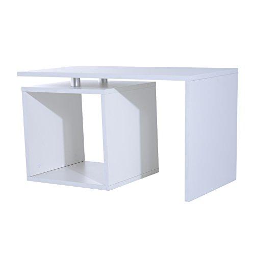 Homcom Table Basse contemporaine Design géométrique carré rectangulaire 77L x 40l x 44H cm Blanc Mat