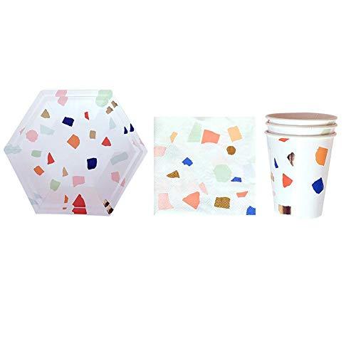 AUNMAS Einweggeschirr Hexagonal Bronzing Pappbecher Set Tablett für dekorative Hochzeit Geburtstag Party Picknick Kuchen Platte Lieferungen(1#) (Papier Dekorative Platten)