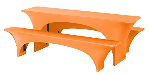 Expand Husse für Bierzeltgarnitur, Festzeltgarnitur Orange - Bierbankhusse und Biertischhusse - 3er...