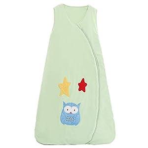 schlabigu Saco de Dormir para bebé, de algodón, para niños, recién Nacidos, 2,5 TOG Verde: búho y Estrella. Verde Verde Talla:90CM/6-18Monate