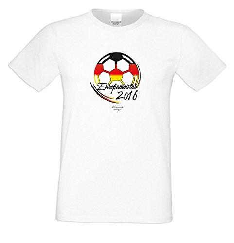 Das Fun T-Shirt zur Fußball EM 2016 in Frankreich Europameister 2016 Public Viewing Party Outfit Farbe: weiss Weiß