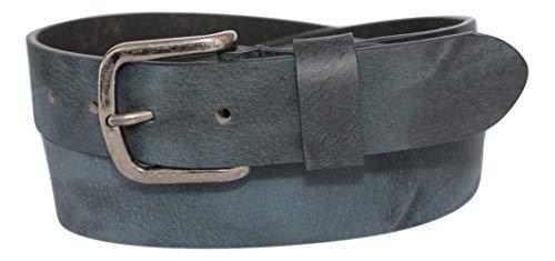 ITALOITALY Cintura Cuoio Effetto Usurato Uomo Donna Blu Denim ca. 35 Vera Pelle Artigianale Made Italy Accorciabile