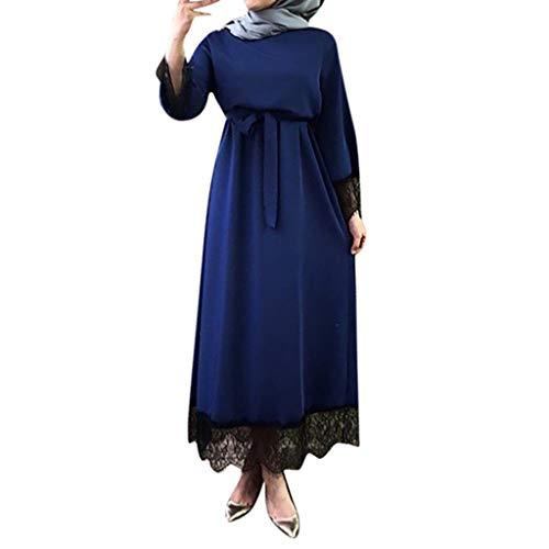 Lace Kaftan (Muslimische Kleider Damen, Frauen Elegant Kleid aus Spitzen 2019 Islamisch Muslim Robe Kleider Abaya Dubai Ramadan Kaftan Moslem Kleid Elegante Muslimischen Kaftan Kleid)