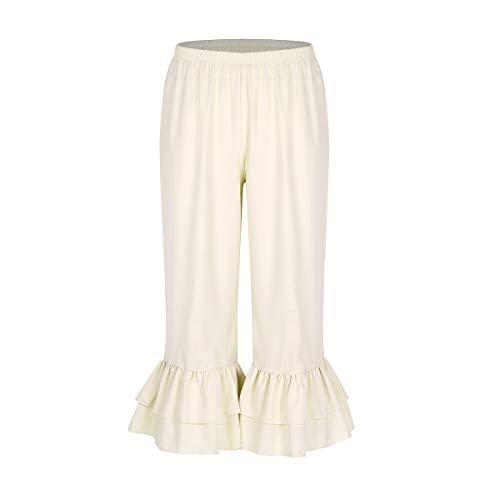 Kostüm Kolonial Frauen - MSemis Damen Hose Viktorianisch Rüschen Lolita Kürbis Pantalons Weiß Pettipants Hexenhose Mittelalter Renaissance Pumphose Cosplay Kostüm Beige Large
