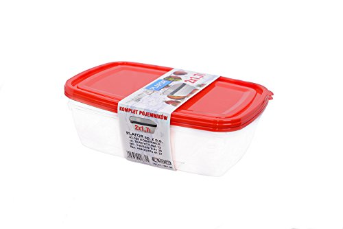 Plafor 2Stück Behälter Set, 1,7l, rot, 24,5x 16,7x 6,5cm (Speicher-lock-box-set)