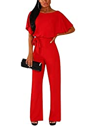 3aacaed708 Yieune Short Sleeve Jumpsuit for Women Elegant Playsuit with Belt Summer  Work Rompers
