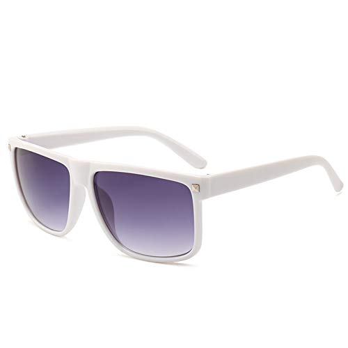 WZYMNTYJ Mode Sonnenbrillen Frauen Flat Top Style Brand Design Vintage Rivet Sonnenbrille Weiblichen Großen Rahmen Shades UV400