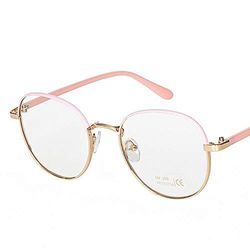 Anti-Blue Light Round Frame Brille Metall flachen Spiegel in der Nähe von Brillengestell. Brille (Farbe : B)