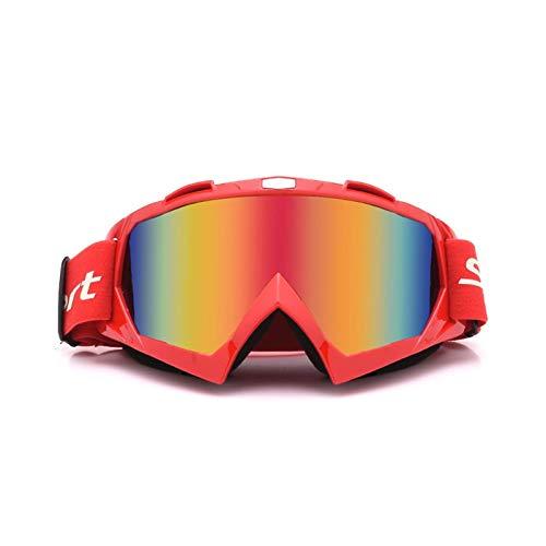 Lafeil Sportsonnenbrille Jugendliche Damen Herren Motorradhelm Off Road Geländesport Skibrille Lokomotivschutzbrillen Fährt Rot