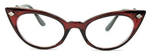 50er Jahre Katzenaugen Brille Cat Eye Modell Klarglas Mode-Brille ohne Sehstärke C95 (Kostüme Rote Brille)