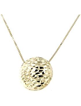 Lucchetta - Damen-Halskette 14 Karat 585 Gelbgold Anhänger Scheiben mit Diamant-Effekt - Gold Kette 42cm