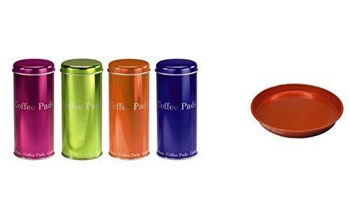 Kaffee Pad Behälter 4-er Set Neon Pink/Grün/Orange/Blau (orange)