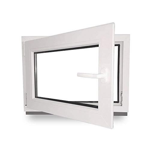fenster 30x30 Kellerfenster - Kunststoff - Fenster - weiß - BxH: 50 x 40 cm - DIN links- 2-fach-Verglasung - Wunschmaße ohne Aufpreis - Lagerware