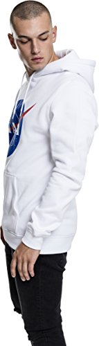 Mister Tee NASA Logo Hoodie, Kapuzenpullover für Herren in den Farben Schwarz und Weiß,Größe XS bis XL Weiß