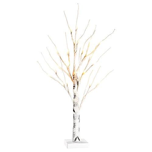 Zanflare 0,6m/23,6 Zoll Batteriebetriebene Baumlampe für den Schreibtisch mit 24 LEDs, Bonsai-Lampe mit Warm-weißem Licht, Birkenbaum mit Ästen für Zuhause, Party, Geburtstag, Hochzeit, Innendekoratio