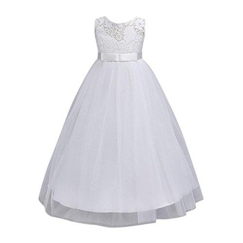 Amlaiworld Baby Hochzeit Party Spitze Blumen Tütü Kleid Mädchen Retro lang Sommer Dress Kinder Ärmellos transluzent Shirt Prinzessin Kleider,4-12 Jahren alt (7 Jahren, Weiß)