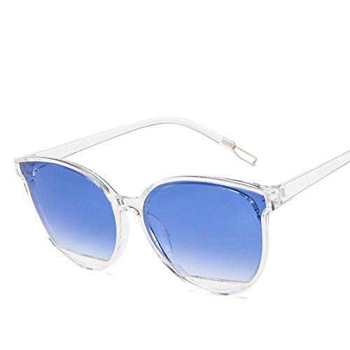 HUWAIYUNDONG Sonnenbrillen, Sunglasses Women Vintage Metal Eyeglasses Mirror Classic Blue