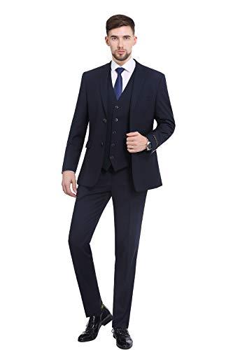 P&L Herren Premium Slim Fit 3-teiliges Anzug Blazer Jacke Tux Weste & Flache Hose Set - blau - 46 Kurz/ 30W - 36s Wolle