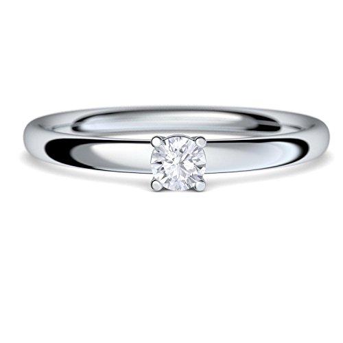 Verlobungsringe Diamant Diamantring Solitär 0,08 Carat SI1/H (TOP Qualität) in Silber 925 - inkl. GRATIS Luxusetui + - Vorsteckring Diamantringe Silber Brillant wie Weißgold - AM161 SS925BRFA60