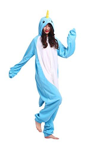 play Kostüme Kigurumi Tiere Schlafanzug Erwachsene Strampelanzug Anime Hoodie Nachtwäsche Narwal XL (Narwal Kostüme)
