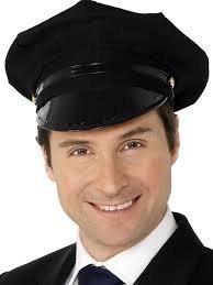 ene schwarz Chauffeur Hut Kappe Taxi Polizei Uniform Kostüm Zubehör (Chauffeur Erwachsene Kostüme)