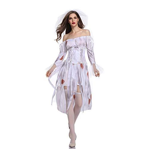 Maid Kostüm Ghost - Halloween Frauen Bunte Druck Ghost Bride Kostüm Zombie Off Shoulder Brautkleid Kleid,Natural,M