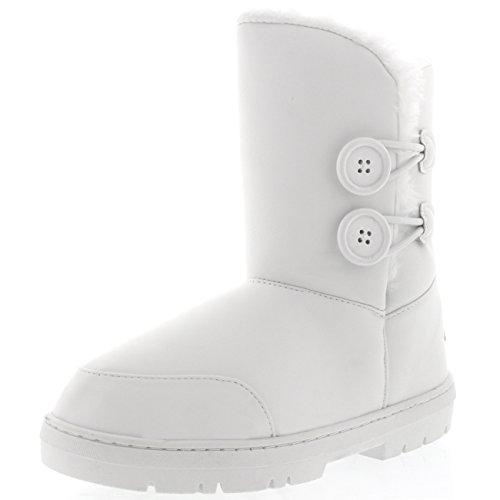 Holly Damen Schuhe Twin Knopf Fell Schnee Regen Stiefel Winter fur Boots - Weiß Leder Gr.-39 EU, WHL39 AEA0270 (Winter Weiße Boots)