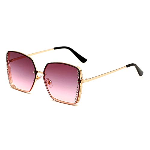 HQMGLASSES Women es Rimless Sonnenbrille Square Gold Frame Sparkling Rhinestone Celebrity Shades Sonnenbrille für Driving/Traveling, UV 400 Schutz,PurplePinkLens
