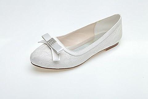Women Heel Pump Shoes Sandal Flat Bottom Lace Bow Tie, Blanc, US9/EU40/UK7