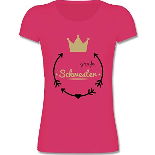Geschwisterliebe Kind - Große Schwester - Krone - 98-104 (3-4 Jahre) - Fuchsia - F288K - Mädchen T-Shirt