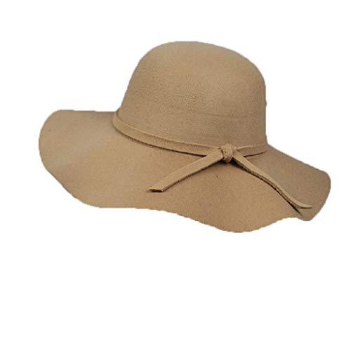 GOUNURE Damen Vintage Wollfilz Fedora Hüte Floppy breite große Krempe Trilby Cloche Cap Bowler Hut mit Schleife für Damen -