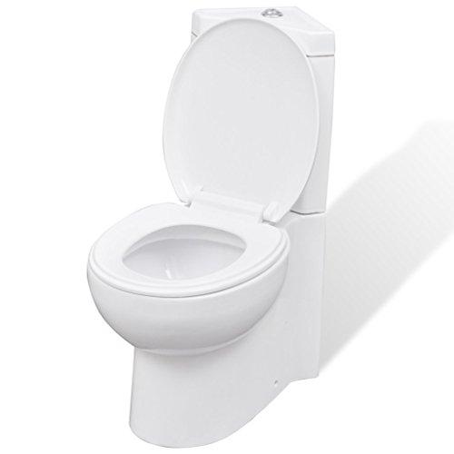vidaXL Inodoro WC Cierre Suave Doble Cisterna Cerámica Blanco Váter de Baño
