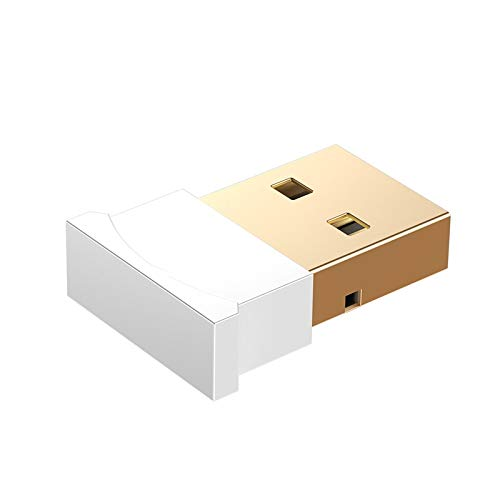 SAYYQ Bluetooth-USB-Adapter, USB-Bluetooth-Adapter Dongle for Computer PC PS4 Maus Aux Audio Bluetooth 4.0 4.2 5.0 Lautsprecher-Musik-Empfänger Sender (Color : White)