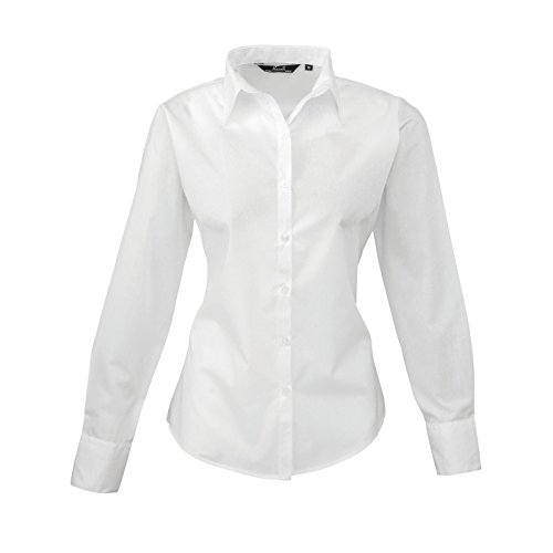 Donna manica lunga popeline camicia White