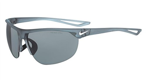 Nike Golf Cross Trainer Sunglasses, Matte Crystal Wolf Grey/White Frame, Grey with Silver Flash Lens image