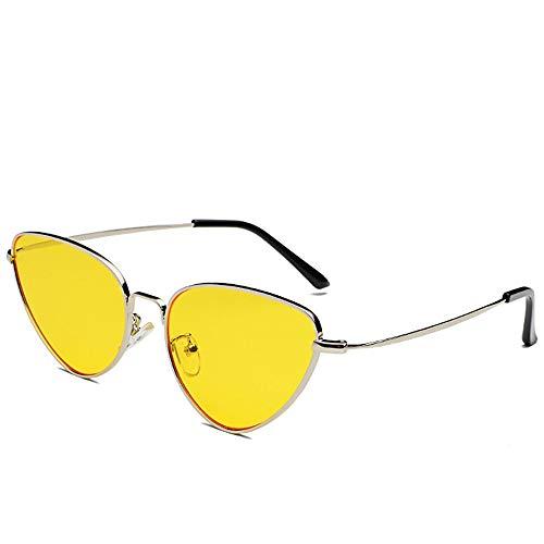 SUMHOME Polarisierte Metallrahmen Cat Eye Sonnenbrille Retro Europa und Amerika Sonnenbrille Sonnenbrille Ocean Brille, gelb