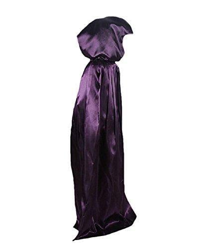 Geister-Umhang Halloween Umhang Karneval Fasching für Kinder Kostüm Cape mit Kapuze Violett 140 (Poncho Halloween Kostüm)