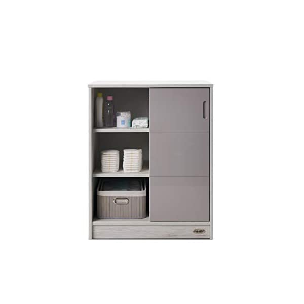Obaby Madrid Storage Unit, Lunar Obaby Left side offers the option of a hanging rail and shelf or three shelves Right side has 3 fixed shelves Option to add the removable changing top to turn into a changing unit 6