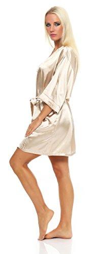 Damen Morgenmantel kurzer Kimono aus Satin-Optik in 17 Farben Bademantel Nachtwäsche Nachtmantel Seidenrobe Gr. S-XL Beige