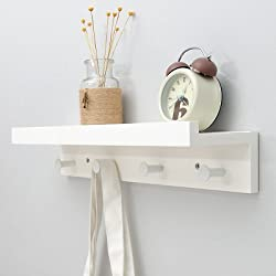 Perchero de pared con balda y colgadores, color blanco