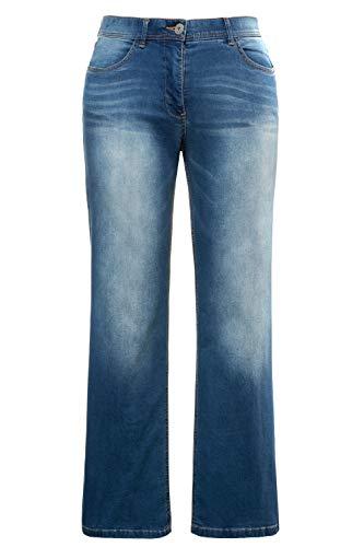 Ulla Popken Damen große Größen bis 60 | Jeans Hose im Bootcut Fit | Denim, 5-Pocket, Stretch | Hoher Bund | Elastikbund | Marlene | darkblue 46 715040 93-46 -
