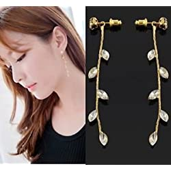 SLB Works Brand New Sweet Women Long Chain Gold Earring Crystal Drop Dangle Earrings Charm Ear Stud