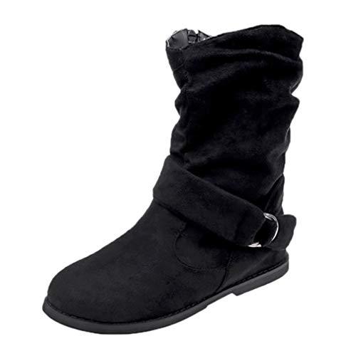 VJGOAL Damen Stiefel, Damen Vintage Style Flock Zipper Weichen Winter warme Flache Slip on Schuhe Set Füße Knöchel Mittlere Stiefel (Schwarz, 39 EU)
