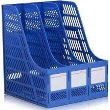 ADDCART Multipurpose Plastic 3 Compartments File Rack Paper Holder Desktop, File Holders Organizer Box