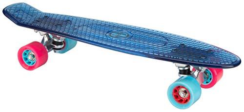 Nijdam TRS Plastik Skateboard, Transparent/Hellblau/Fuchsia, One Size/22.5 Zoll