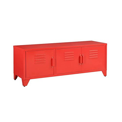 Camden meuble tv 120 cm - rouge laqué