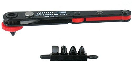 Super flacher, rechts abgewinkelter Schraubendreher (nur 22 mm hoch) und Bits, ideal für eingeschränkte und begrenzte Orte Engineer Dr-55